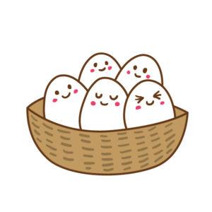 バスケットに卵全盛り